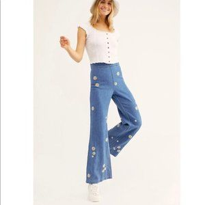Free People Embroidered Flower Jeans Wide Legs